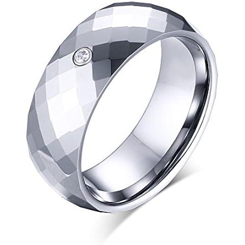Vnox Anello in carburo di tungsteno Rhombic Cut CZ diamante sfaccettato aggancio di cerimonia nuziale Banda uomo 8mm Argento