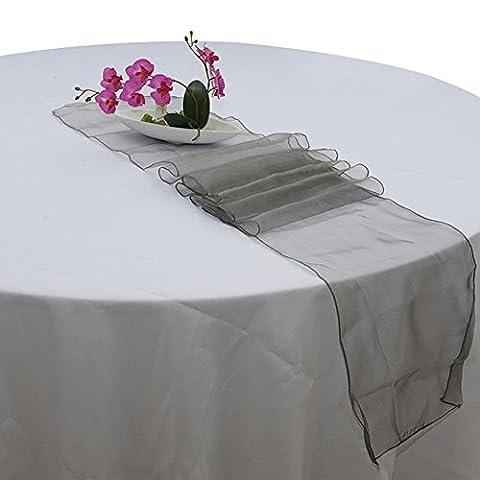 Lugii Cube de qualité premium Sheer chemin de table en organza pour le mariage et décoration de fête, gris