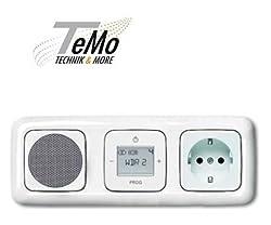 TM: Busch Jäger UP Digitalradio - Komplett-Set Reflex SI mit Steckdose 3-Fach, 1xRadio, 1xLautsprecher, 1xSteckdose