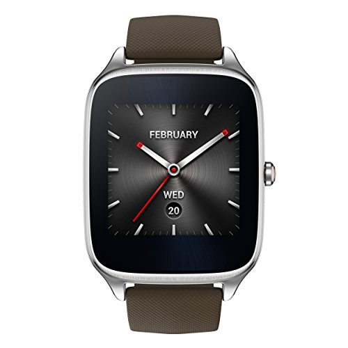 Asus Zenwatch 2 WI501Q-1RTUP0004 (4,1 cm (1,63 Zoll), Qualcomm Snapdragon, 320 x 320 pixels, Android, Amoled, 4GB, Gummiarmband) grau/braun