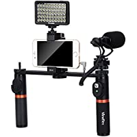 Viewflex Phone Video Kit VF-H7 Smartphone Video Grip with Camera Microphone and Video Light,Metal Handheld Grip for IPhone X 8Plus 7 6s Samsung Galaxy S8+ S8 Android(with Bluetooth Remote Control)