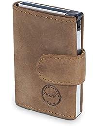 MANUFAKTUR NIKITA® POP-UP Kreditkarten-Etui mit RFID NFC Schutz für 10 Karten Geldbörse mit Fach für Scheine aus echtem Leder für Damen und Herren mit edler Geschenkbox