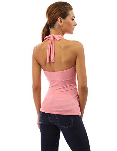 PattyBoutik Damen Halterbluse mit Rüschen und V-Ausschnitt Coral Pink