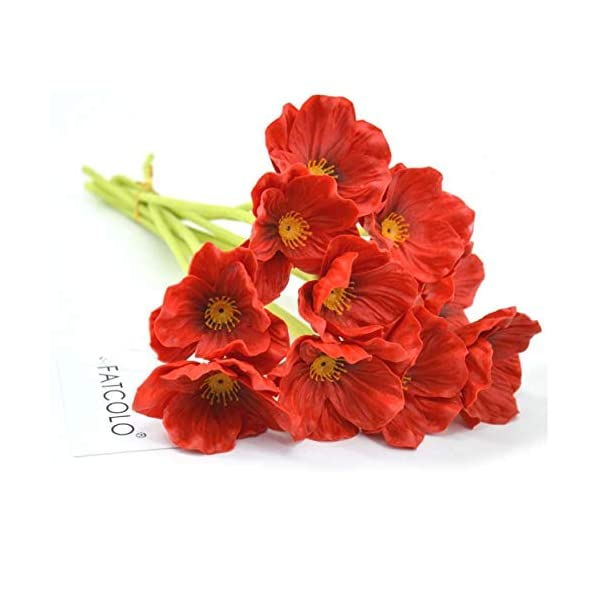 Oulensy 10 PCS Fresco Artificial Mini Tacto Verdadero de la PU/látex Falsos maíz Amapolas Seda Decorativo Flores de…