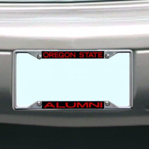 amandir 2Stück Edelstahl License Plate Frames matt schwarz Custom Nummernschild Rahmen Nummernschild Abdeckungen Halterung mit zwei Löchern und Chrom Schraube Kappen, Oregon State Beavers