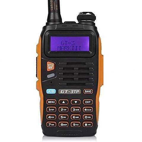 Baofeng Pofung GT-3TP Tri-Power 8/4 / 1W Two-Way Radio Transceiver Talkie Walkie, Dual Band Radio Vrai 8W Haute Puissance Radio Bidirectionnelle, Avec 23CM Antenne à Gain Elevé, Chip Mis à Niveau (2 * Radio + 1 * Câble de Programmation)