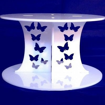 White Cake Säulen (Schmetterlinge weiße Runde Acryl Säulen Hochzeit & Partei Kuchen Separatoren/steht 15cm €