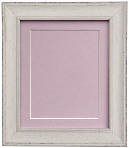 Scandi Distressed Pale Grau Bild Bilderrahmen Rahmen mit Schwarz, Weiß, Elfenbein, Rosa oder Blau-mit Unterstützung Boards, plastik, Pink mount and Backing Board, 60 x 80 cm For Image size 50 x 70 cm