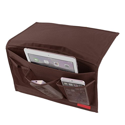 GUO Bedside Caddy Storage Organizer Hanging Bag,Chair Desk Sofa Slipcovers TV Remote Controller Holder Organizer Bag Table Cabinet Magzine Book Caddy (Coffee)