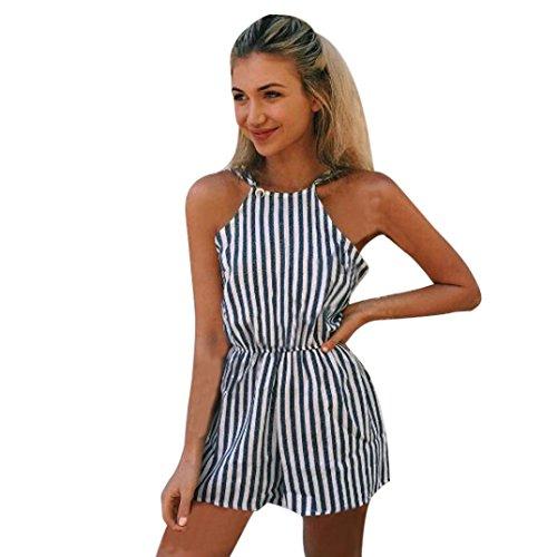 ❤️ Damen Abendkleid Gestreift Maxikleid, ❤️ Damen Party Club Kleider Overall Kleid | ❤️ Schulter Faltenrock | 50er Vintage Retro Kleid | Kleidung Unter 10 Euro | Sommerkleid (XL, Marine) -