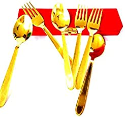 Brass and Gifts 6 Piece Golden Table Spoon & Fork Set, (3 Table Spoons, 3 Forks)