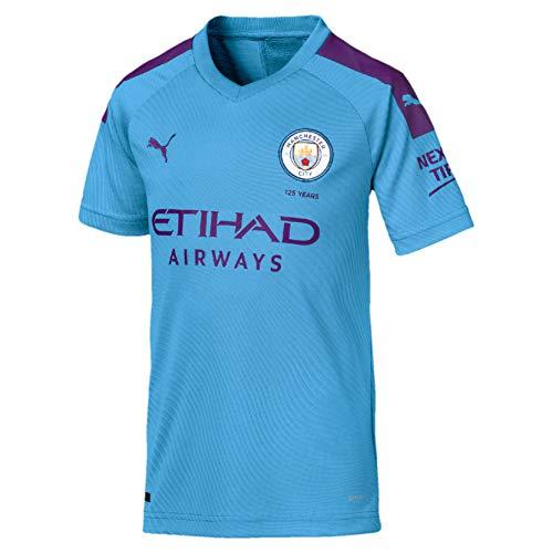 Puma Kid's MCFC HOME Shirt Replica SS Jr with Sponsor Logo Jersey, Team Light Blue-Tillandsia Purple, 164