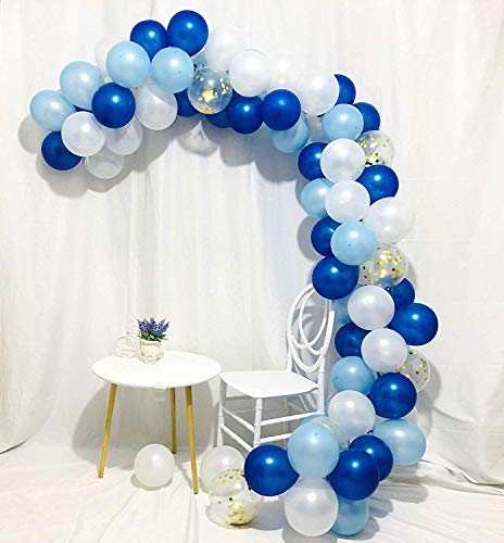 Erosion Blaues Gold und weiße Ballons 80 Stück 12 Zoll Royal Blue Balloons Hellblaue Ballons Gold Konfetti Ballons Weiße Ballons Blau und Gold Dekorationen, Royal Baby Shower Dekorationen (Royal Blau Hochzeit Ballons)