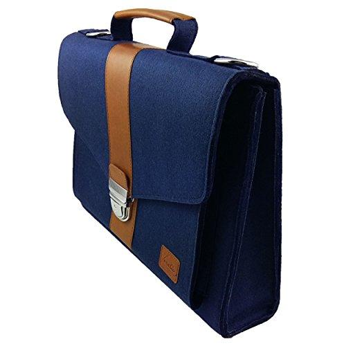 Venetto Businesstasche Umhängetasche Aktentasche Arbeitstasche Handtasche Herren Damen Unisex Filztasche Tasche aus Filz mit Schultergurt mit Echtleder-Applikationen (Schwarz meliert) Blau dunkel