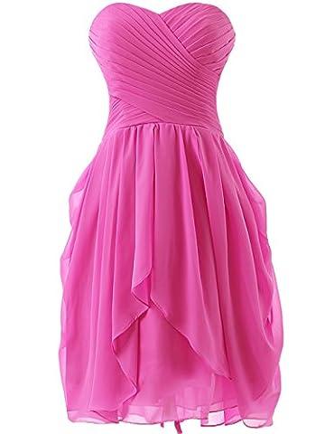 HUINI Strapless Brautjungfer Kleider kurz Chiffon Abendkleid mit Falte besetzt Ballkleid Hot Pink Size 50