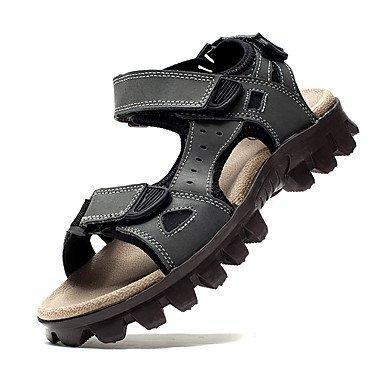 Los hombres sandalias de cuero verano Casual talón plano otros gris marrón caminando US8 / EU40 / UK7 / CN41