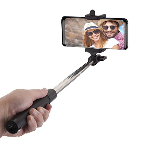 Power Theory Bluetooth Selfie Stick mit 20 Stunden Akkulaufzeit - Kabelloser Wireless Selfiestick für iPhone XS Max X 8 7 Plus 6s 6 SE 5S 5 Samsung Galaxy Android S9 S8 S7 Edge S6 S5 Note Smartphone