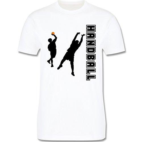 Handball - Handball Wurf Verteidigung - Herren Premium T-Shirt Weiß