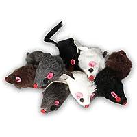 Europet Bernina Echtfell-Maus, Spielzeug für Katzen (mit Rassel, 9 Stück)