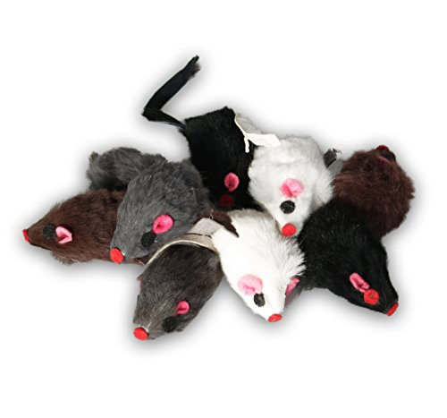 EBI, Set di topi giocattolo con pelo vero per gatti, ognuno da 5 cm