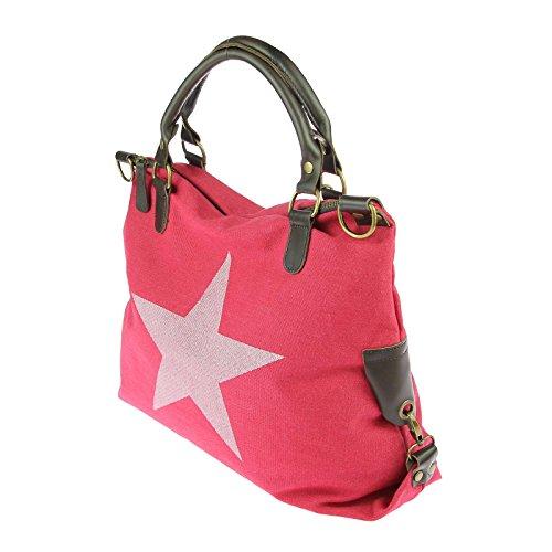 OBC DESIGN ITALIANO borsa borsa di cuoio borsa donna TELA COTONE Crossover Borsa a Tracolla Sportivo BORSA TRACOLLA BORSA CON MANICI SHOPPER DIN-A4 - Grigio (strass-stern), ca 44x42x15 cm ( BxHxT ) Rosso (manico pelle)