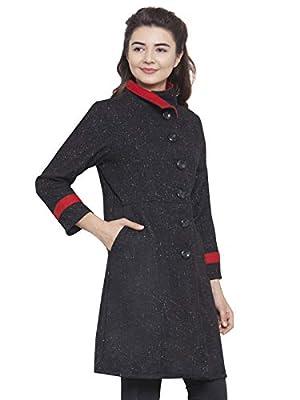 Martini Women Black & Red Funnel Collar Woolen Coat
