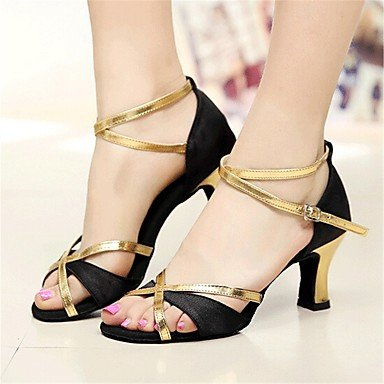 Scarpe da ballo-Personalizzabile-Da donna-Balli latino-americani / Salsa-Tacco su misura-Raso-Argento / Dorato golden