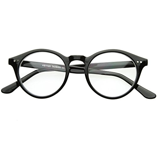 Preisvergleich Produktbild Neutrale Gläser KISS® - inspiriert von MOSCOT Stil Johnny Depp mod. WAVE - optischen Rahmen RETRO Mann Frau unisex - SCHWARZ