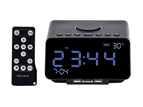 Mettime Station d'accueil Docking Radio-réveil FM double alarme Haut-parleur Bluetooth sans fil Avec télécommande Affichage de la température Charge de téléphone portable pour Hôtel Tête de lit Chambr , Noir