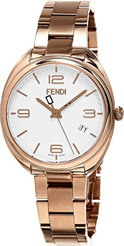 Fendi Women's Momento 34mm Rose Gold-Tone Steel Bracelet & Case Swiss Quartz White Dial Watch F211534000