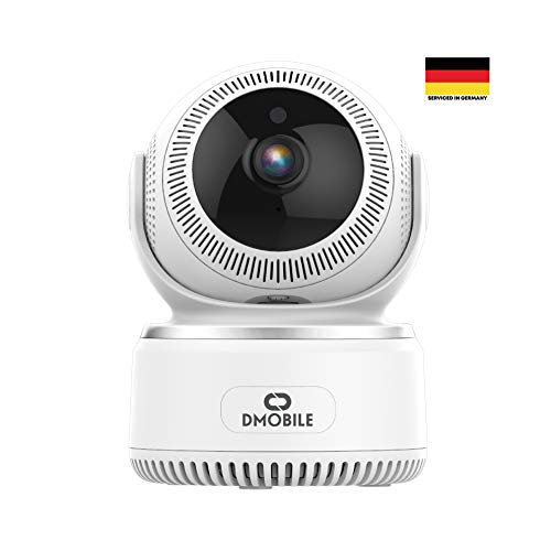 Dmobile Überwachungskamera Full HD 1080pInkl. Smartphone App - WLAN Kamera für Haustier und Babyüberwachung - Home Cam mit Nachtsicht & praktischer App - Schwenkbare Videoüberwachung (Internet-kamera)