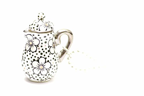 Miniblings Kaffeekanne Teekanne Kette Tee Kaffee 80cm Kanne Porzellan Punkte