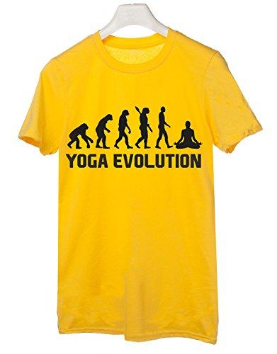 Tshirt Yoga Evolution - evolution - yoga - sport - humor - in cotone Giallo