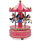 Multi-Coloured Handcrafted Wooden Musical Carousel Showpiece for Home Decor, Kids Toy, Functional Gift by DAISYLIFE