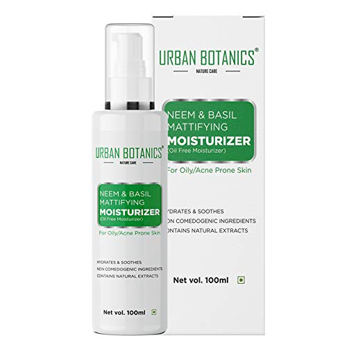 UrbanBotanics® Neem & Basil Mattifying Moisturizer - Oil Free Moisturizer For Face - For Oily & Acne Prone Skin - 100ml (Paraben Free)