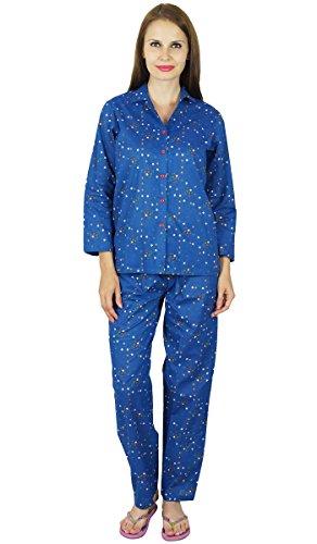 Bimba Frauen blauen Baumwoll Nacht gedruckt Pyjama Set volle Hülsenhemd mit Pyjamas tragen Blau
