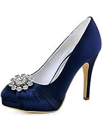 010b3291765c1 Elegantpark EP2015-PF Plateforme Aiguille Talon Pumps Bout Ferme Fleurs  Strass Diamant Boucles Satin Chaussures