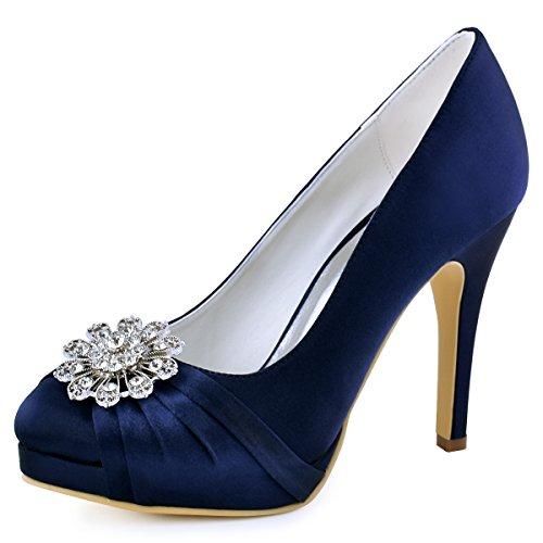 Elegantpark ep2015-pf donna punta chiusa pumps piattaforma tacco alto pompe strass satin scarpe da sposa della festa nuziale blu marina eu 40