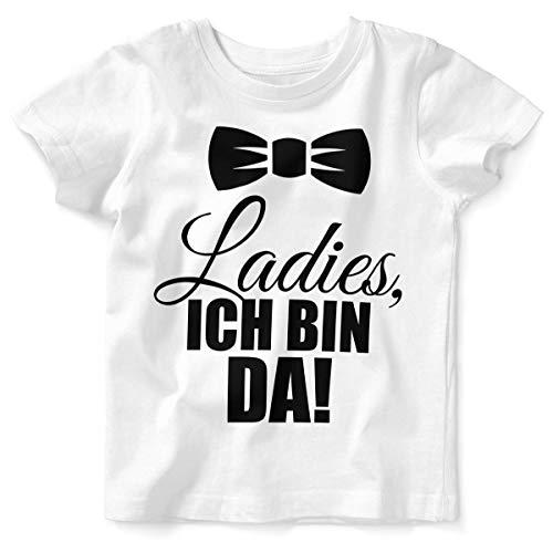 Mikalino Baby/Kinder T-Shirt mit Spruch für Jungen Mädchen Unisex Kurzarm Ladies, ich Bin da! | handbedruckt in Deutschland | Handmade with Love, Farbe:Weiss, Grösse:68/74 (Lady Geburt Kostüm)