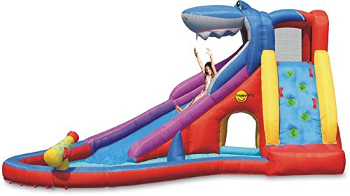 Bouncy castle and water slide 15ft inflatable sharks for Happy hop inflatable water slide