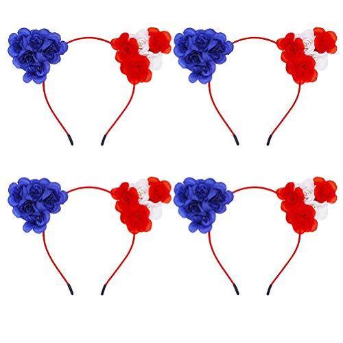 4pcs American Flag Stirnband USA 4. Juli Haarschmuck Katze Ohr Floral Headwear Halloween Haarband für Mädchen