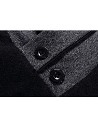 Bestgift Herren Baumwolle Schal Stil Langarm T-Shirt Bluse Schwarz