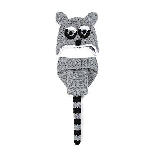 ENCOCO Baby-Foto-Requisiten für Neugeborene, graue Fuchs-Form für Fotoshootings, Häkel-Kostüm, Baby-Kostüm, Baby-Kostüm, Strickmütze, Windel-Set