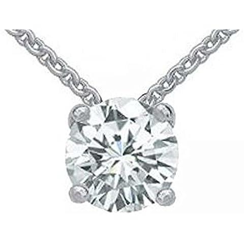 1,50 cts. Diamond jewelry-Collana con ciondolo in oro bianco