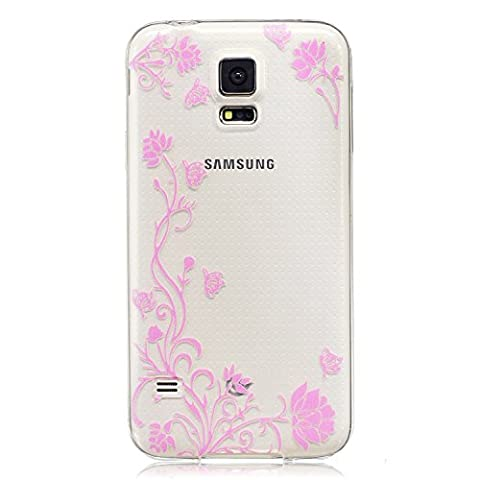 S5 Covers, Samsung S5 Case - Samsung Galaxy S5 Flower Case, Cozy Hut TPU Clear Soft Silicone Back Colorful Printed Flower Pattern Silicone Case Protective Cover Cell Phone Case for Samsung Galaxy S5 Bumper Case [Ultra Slim], Flexible Soft TPU [Drop Protection+Shock Absorption+Anti-Scratch] Protective Case Cover for Samsung Galaxy S5 - Pink flower