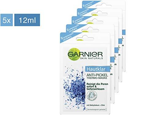 Garnier Hautklar Anti-Pickel Thermo-Maske, Mitesserentferner, Gesichtsmaske mit Zink, Salicylsäure und Tonerde (5 x 12 ml)