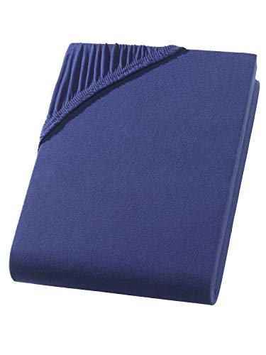 Hometex Premium Textiles Exclusive Spannbettlaken Spannbetttuch bis 25 cm Steghöhe   Bettlaken 100% Baumwolle   160 g/m²   ÖKO-TEX Standard  (120-130x200 cm   Steghöhe bis zu 25 cm, Navy)