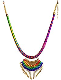 DollsofIndia Multicolor Thread Necklace With Metal Pendant - Necklace - 22 Inches, Pendant - 2.5 Inches (RB87-...