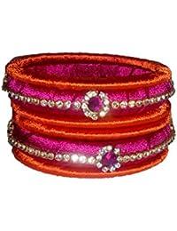 Riddhi Crafts Pink & Orange Silk Thread Bangle Set For Women