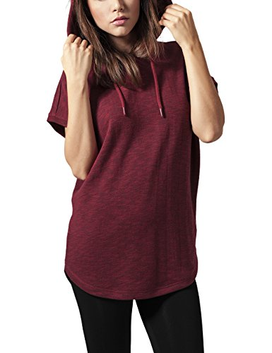 Urban Classics Damen Ladies Melange Sleeveless Terry Hoody Pullover, Rot (Burgundy 606), X-Large -